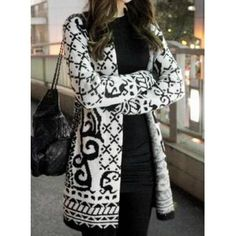 AnGen Wear Vintage Collarless Long Sleeve Geometric Pattern Knitted Cardigan For Women
