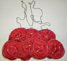 Puffy Floral Red Satin Handbag Purse Clutch Rhinestones Clasp Long Silver Chain #Unbranded #EveningBag
