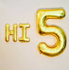Hi Five Party 5 Balloon 5th Birthday Prop Number High Theme Gold Years Old 5Silver
