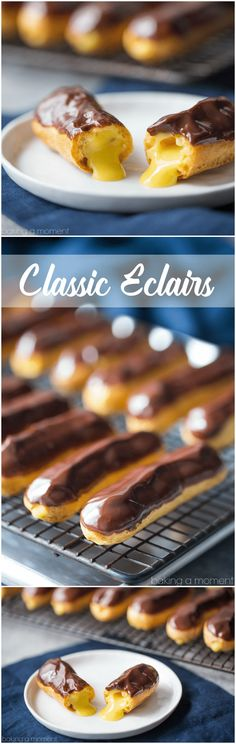 These eclairs are perfection! A flawless recipe- everything from the pastry to the filling to the glaze came out perfectly.   food desserts chocolate via @bakingamoment