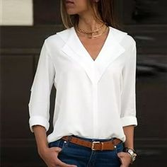 Flash Deals White Blouse Long Sleeve Chiffon Blouse Double V-neck Women Tops and Blouses Solid Office Shirt Lady Blouse Shirt Blusas Camisa The Office Shirts, Work Shirts, V Neck Blouse, Long Blouse, Collar Blouse, Mode Outfits, Fashion Outfits, Style Fashion, Jeans Fashion