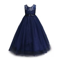 Muababy Big Girls Lace Bridesmaid Dress Dance Gown A Line Dresses (11-12 Years, Navy) – Bridesmaid Dresses