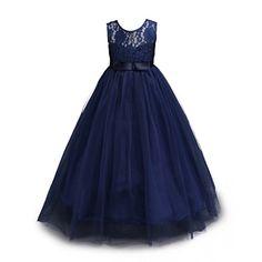 Muababy Big Girls Lace Bridesmaid Dress Dance Gown A Line Dresses (11-12 Years, Navy) – Bridesmaid Dresses