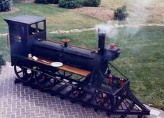 A 1986 John Stearn's BBQ train unit. Barbecue Grill, Grilling, Custom Bbq Grills, Bbq Smoker Trailer, Cool Fire Pits, Smoke Grill, Outdoor Cooking, Outdoor Kitchens, Outdoor Fire