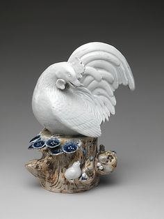 Hen with Chicks  Period: Edo period (1615–1868) Date: late 17th–early 18th century Culture: Japan Medium: Porcelain with underglaze blue decoration (Hizen ware, Hirado type) Dimensions: H. 10 3/4 in. (27.3 cm); W. 8 1/4 in. (21 cm) Classification: Ceramics