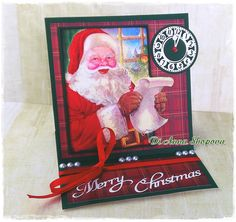 Victorian Christmas Easel Santa Claus Greeting Card by DI Anna Shopova