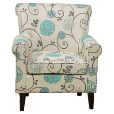 Add a pop of pattern to your living room seating group or favorite reading nook with this chic arm chair, showcasing a wood frame and blue floral upholstery....