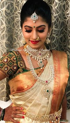 South Indian Bridal Saree Blouse Jewellery Designs 23 New Ideas South Indian Bridal Jewellery, Indian Bridal Sarees, Indian Bridal Makeup, Wedding Makeup, Bridal Lehenga, South Indian Makeup, Wedding Jewelry, Silk Saree Blouse Designs, Bridal Blouse Designs