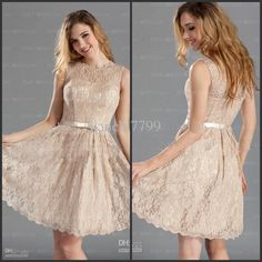 Wholesale High Quality Simple A-Line Scoop Neck Knee-Length Champagne Lace Bridesmaid Dress Formal Dresses AB236, Free shipping, $74.3/Piece | DHgate