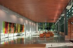 Edith Green-Wendell Wyatt Federal Building, Portland, Oregon. The lobby, with its terrazzo floors and ceilings from 9wood, is lined with floor-to-ceiling glazing from Viracon. Credit: Nic Lehoux, Architect Magazine