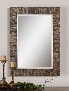 Cottage Coastal Style Mantel Foyer Wall Mirror Bark Vaneer Finished Frame $389.80