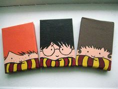 Painted Harry Potter magnets by Leeanne Morris! Set of 3: Ron, Harry, Hermione // $12