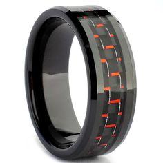 Black Carbon Fiber ring for men