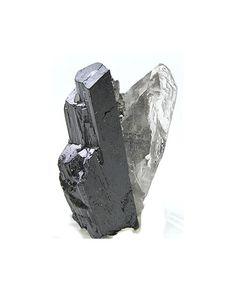 Ferberite Metallic Crystals with Quartz Natural by FenderMinerals