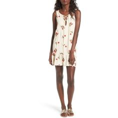 Women's Lovers + Friends Cross My Heart Shift Dress ($168) ❤ liked on Polyvore featuring dresses, floral embroidered nude, nude dress, white bohemian dress, boho chic dresses, shift dresses and white boho dress