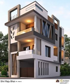 Modern Exterior Home Design Duplex House Design, House Front Design, Small House Design, Modern House Design, Independent House, Front Elevation Designs, House Elevation, Building Elevation, Modern Exterior