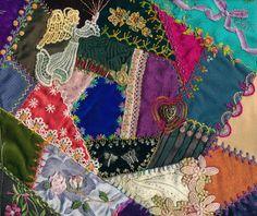 Viv's Crazy Quilting Journey: Four coloured Crazy Quilt blocks completed