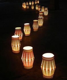 With artificial tea lights in.  Perfect for the Botanical Garden of the Ozarks!!!