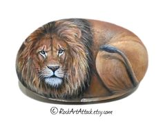 Original Hand Painted Lion on a smouth  flat Rock by RockArtAttack