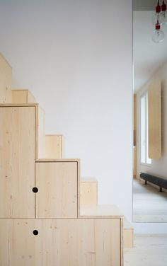 Apartment in Paris by Schemaa features a staircase made of cupboards (Dezeen Interiors) Plywood Interior, Interior Stairs, Apartment Interior, Interior Architecture, Interior And Exterior, Interior Design, Stair Storage, Paris Apartments, Under Stairs