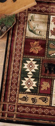 Rustic Log Cabin Rug. See website for more cabin accessories and furnishings.