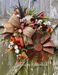 Windmill Fall Farmhouse by Holiday Baubles Christmas Mesh Wreaths, Thanksgiving Wreaths, Autumn Wreaths, Door Wreaths, Diy Wreath, Wreath Making, Wreath Crafts, Wreath Ideas, Country Wreaths