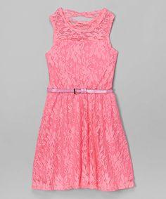 New Pink Floral Lace Belted Dress - Girls #zulily #zulilyfinds