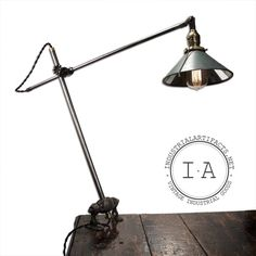 Vintage Industrial OC White Ball Joint Desk / Wall Task Lamp w/  Mirror Shade