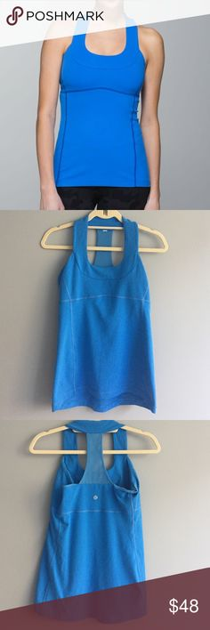 Scoop Neck Tank lululemon scoop neck tank Size 8. Blue. Built in bra. Luon fabric. Great for yoga! 🚫NO TRADES🚫 lululemon athletica Tops Tank Tops