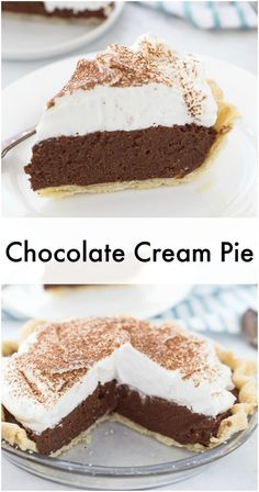 This chocolate cream pie recipe is going to be your go-to recipe for anything creamy, decadent and delicious in the form of a pie! Silky, classic chocolate cream pie recipe is a must have for any summer gathering Chocolate Crack, Chocolate Pie Recipes, Chocolate Desserts, Chocolate Mousse Pie, Recipe For Chocolate Cream Pie, Homemade Chocolate Pie, German Chocolate Pies, Chocolate Silk Pie, Chocolate Roulade