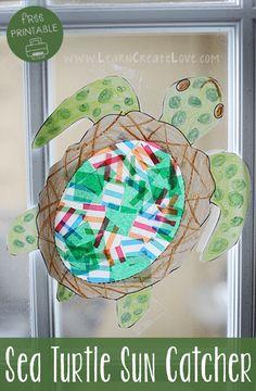 Sea Turtle Sun-Catcher Craft with Printable! LearnCreateLove.com