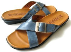 MEPHISTO 38 MADE IN FRANCE MEPHISTO BLUE LEATHER SANDALS *EXCELLENT* SIZE 8 #Mephisto #Slides