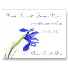 #Wedding Save The Date Postcard - purple iris flower