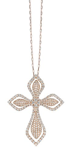 rose gold & diamonds cross