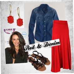 Red & Denim . End of Summer outfit 2013
