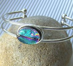 Dichroic Bangle  Dichroic Fused Glass Jewelry  by TremoughGlass, $28.00
