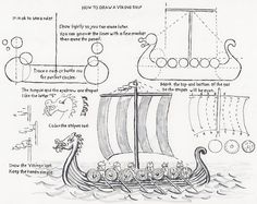 How to Draw Worksheets for Young Artist: How to Draw a Viking Ship, a lesson for the Young Artist. This could be a really cool activity to get students to think about what it was like to be a viking. This could also tie into civilization and Roman times! Basic Drawing, Drawing Lessons, Art Lessons, Viking Ship, Viking Art, Viking Woman, Tapestry Of Grace, Ship Drawing, Park Art