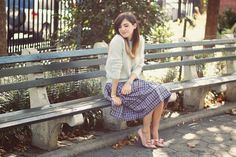 Emilee Anne wearing H&M angora sweater, Marc by Marc Jacobs plaid sequin skirt and Valentino bow heels