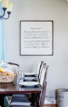 DIY Oversized Sheet Music Wall Art ~ Follow this tutorial to recreate Restoration Hardware's sheet music wall art. I love how meaningful this artwork is, especially during the Easter season!