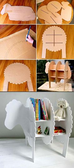 Turning trash into DIY projects - Cardboard boxes become this woolly sheep shelving