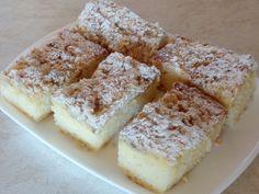 A-suroviny vyšleháme v hladké těsto a nalijeme na plech vyložený pečícím papírem (rozměr plechu 33x26 cm).B-tvaroh, pudinkový prášek a cukry... Krispie Treats, Rice Krispies, Slovak Recipes, Kefir, French Toast, Easy Meals, Easy Recipes, Food And Drink, Sweets
