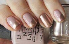nude y dorado para uñas