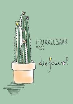 Postkaart A6 - cactus www.belovings.nl €1,50
