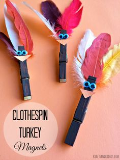 Learn how to create a super festive Turkey Clothespin Magnet. A few simple items are needed to create your very own turkey clothespin. Craft Party, Craft Stick Crafts, Preschool Crafts, Kid Crafts, Craft Ideas, Thanksgiving Crafts For Kids, Thanksgiving Activities, Clothespin Magnets, Wooden Clothespins