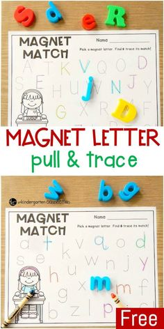 This pull and trace alphabet magnets activity is a great literacy center for Pre-K and Kindergarten students who are learning their letters! by matilda Alphabet Activities Kindergarten, Learning The Alphabet, Literacy Activities, Kindergarten Activities, Preschool Names, Morning Activities, Alphabet Book, Preschool Printables, Toddler Activities