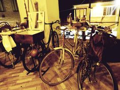 """OLd professions' bicycles at """"autumn tastes' festival"""" in Montefano (MC) read the whole article at: http://thepicuspost.wordpress.com/2014/10/27/when-we-went-to-work-by-bicycle/"""