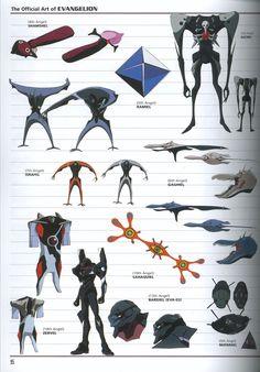 Tags: Neon Genesis Evangelion, Gainax, Official Art, Sachiel (Evangelion), Eva 03, Sahaquiel, Shamshel, Ramiel (Evangelion), Israfel, Matariel, Gaghiel