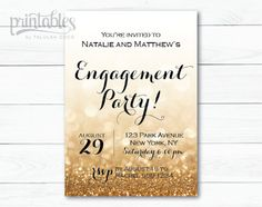 Engagement Party Invitation Printable  Black and by PrintablesByTC