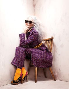 ~83yr old model she makes old look beautiful... Long gray/platinum hair!  Daphne 2
