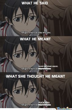 This is one of the reasons I don't like Asuna x Kirito. Like, please Asuna, don't be stupid. Kirito is even younger than you and acts more mature -. Manga Anime, Anime Naruto, Kunst Online, Online Art, Bunka Pop, Tous Les Anime, Sao Memes, Kirito Asuna, Accel World